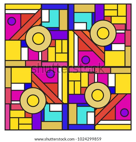 Vector abstract geometric colorful background. Memphis, indian, Brazilian and Mexican pattern.