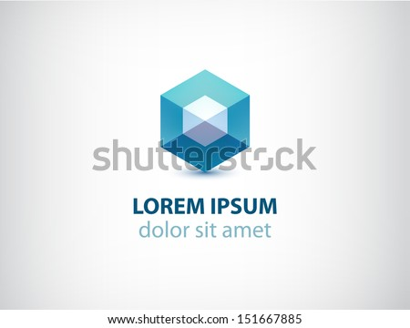 vector abstract geometric crystal logo for your company - stock vector