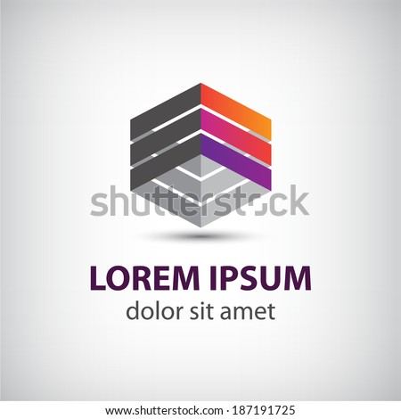 vector abstract geometric cube icon, logo isolated - stock vector