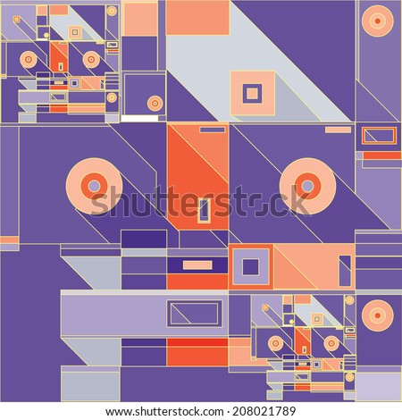 vector abstract geometric graphic composition retro colors - stock vector