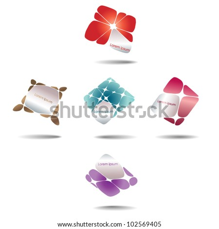Vector abstract geometric logo elements - set - stock vector