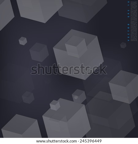 Vector Abstract geometric shape from gray cubes. Black squares