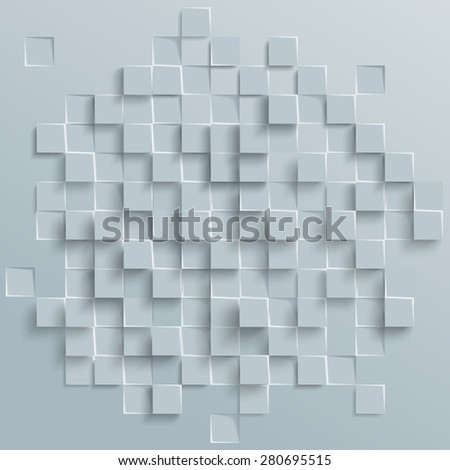 Vector Abstract geometric shape from gray cubes. White squares - stock vector