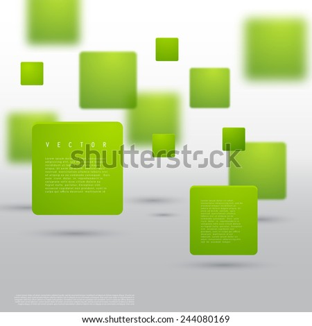 Vector Abstract geometric shape from green cubes. Particles squares - stock vector