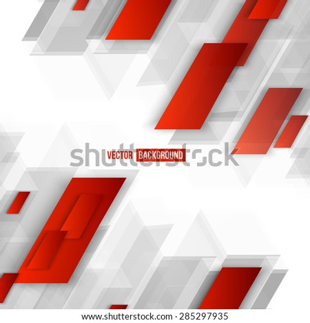 Vector Abstract geometric shape from red lines.  - stock vector