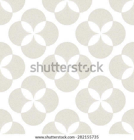 Vector abstract geometrical floral seamless pattern from light beige fan shaped decorative triangular elements on a light grey background  - stock vector