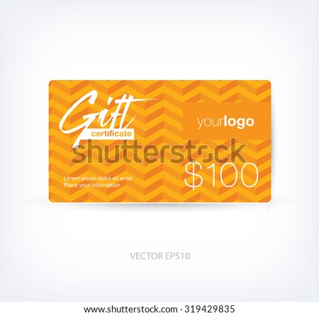 Vector abstract gift card design template stock vector 319430687 vector abstract gift card design template with orange chevron background negle Choice Image