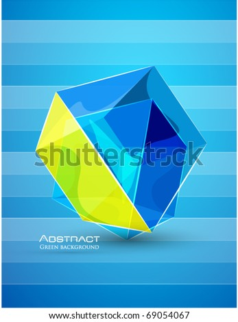 Vector abstract glass cube - stock vector