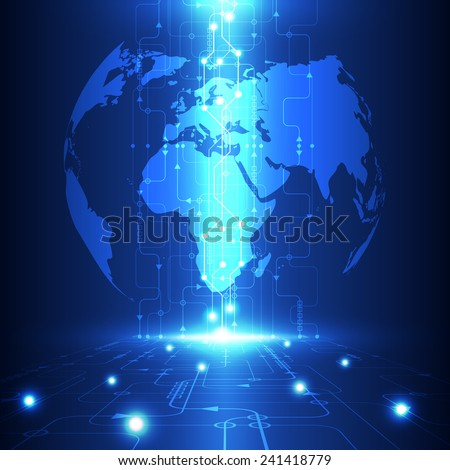 vector abstract global future technology, electric telecom background - stock vector