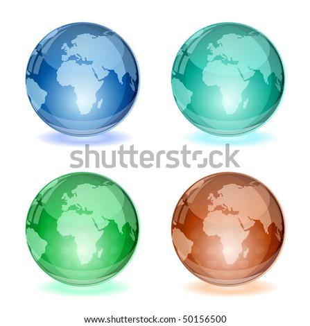vector abstract glossy globe - stock vector