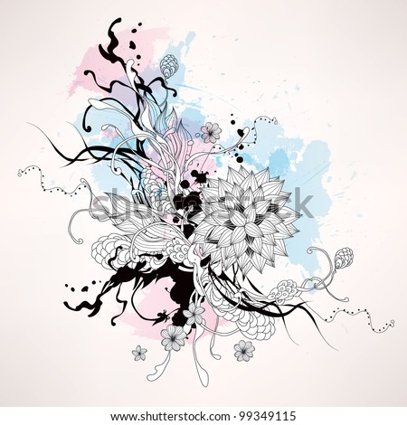 Vector abstract graphic with flowers - stock vector