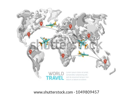 Vector abstract grayscale world map red stock vector royalty free vector abstract grayscale world map with red pins and blue flying airplanes top view illustration gumiabroncs Gallery