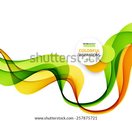 Vector Abstract  green and orange curved lines background. Brochure design - stock vector