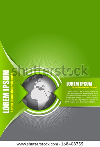 Vector abstract green background with a globe, suitable for transport, freight forwarding, transnational, or travel company. Can be used for brochures, leaflets, posters, cards and other prints. - stock vector