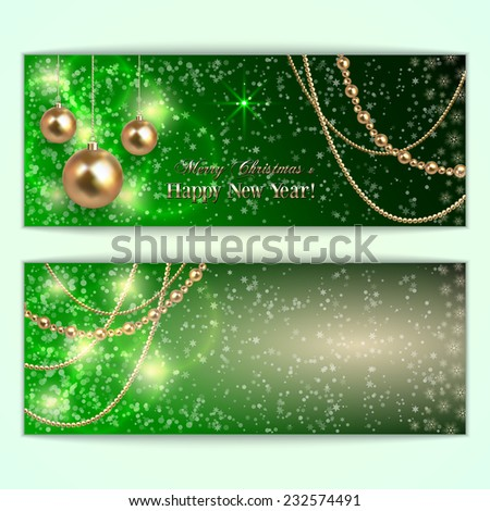 Vector abstract  green Christmas and New Year Greeting or Invitation horizontal two side  Card - stock vector