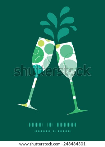 Vector abstract green circles toasting wine glasses silhouettes pattern frame - stock vector