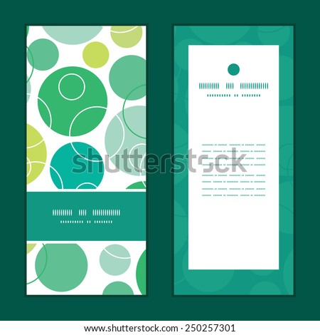 Vector abstract green circles vertical frame pattern invitation greeting cards set - stock vector