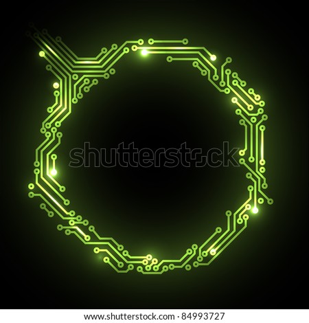 Vector abstract green circuit board background with place for your content - stock vector