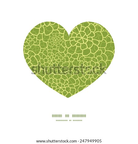 Vector abstract green natural texture heart silhouette pattern frame - stock vector