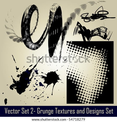 vector abstract grunge set elements and design - stock vector
