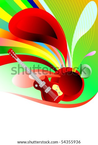 Vector abstract guitar - stock vector