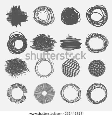 vector abstract hand-drawn circles - stock vector