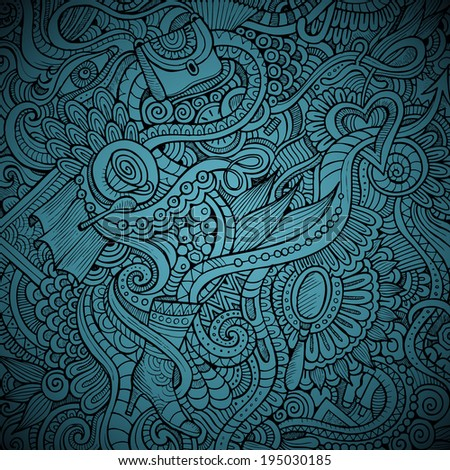 Vector abstract hand drawn decorative doodles background - stock vector