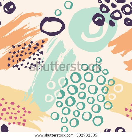 Vector abstract hand drawn seamless pattern made with brush strokes. - stock vector