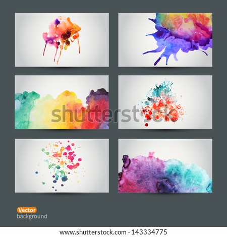 Vector abstract hand drawn set of six watercolor background,vector illustration, stain watercolors colors wet on wet paper. Watercolor composition for scrapbook elements - stock vector