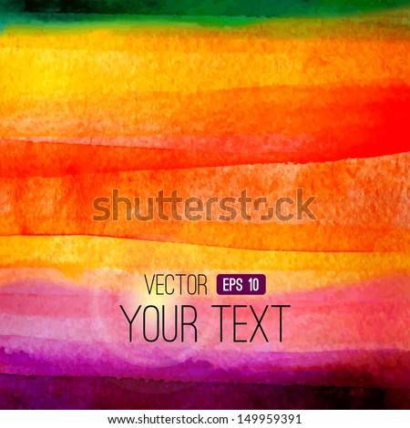 Vector abstract hand drawn watercolor background. Colorful  watercolor banner template. Painting. Vector illustration with empty space for your text. - stock vector