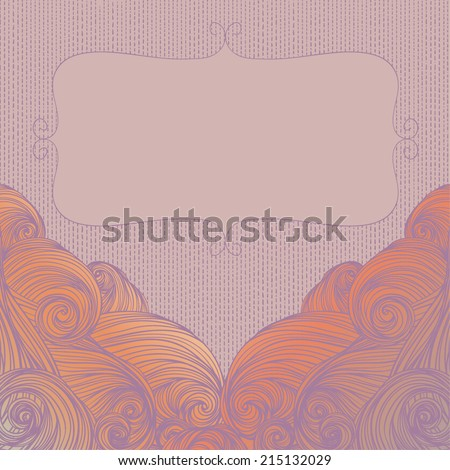 Vector abstract hand-drawn waves curly background