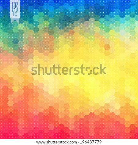 Vector abstract hexagon background. Geometric pattern. Retro geometric backdrop. Graphic. Retro pattern. Colorful mosaic banner. Geometric hipster retro background with place for your text. EPS 10 - stock vector