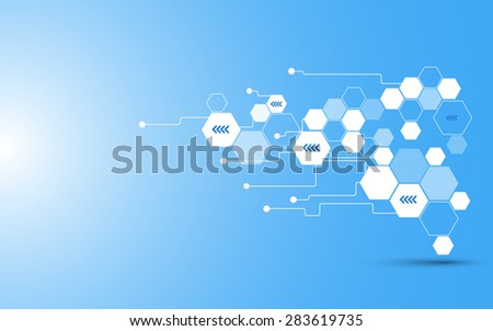 vector abstract hexagon telecommunication concept background - stock vector