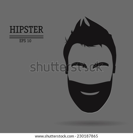 vector abstract hipster with a beard and mustache - stock vector