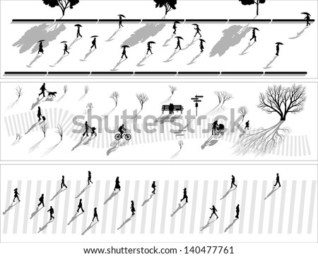 Vector abstract horizontal banner: crowd of people silhouettes with shadows in rain, in park and pedestrians. - stock vector