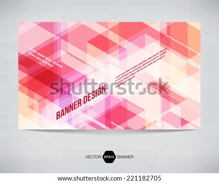 Vector abstract horizontal banner with light red modern futuristic hi-tech background - stock vector