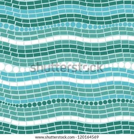 Vector Abstract ice shapes texture seamless pattern background with many blue triangular shapes - stock vector