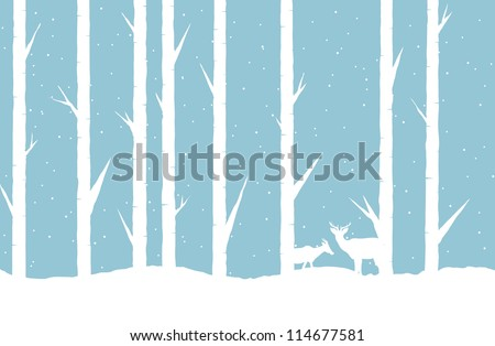 Vector abstract illustration of a winter forest with two deers. - stock vector