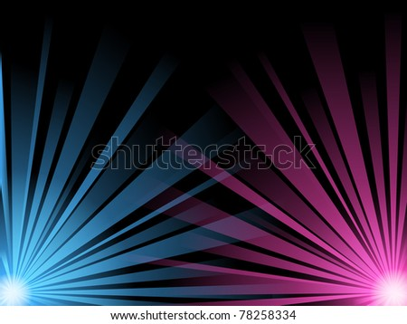 vector abstract illustration of blue and pink light beams on black - stock vector