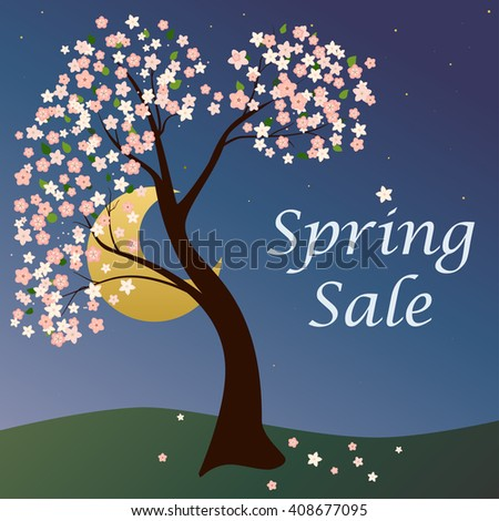 Vector abstract illustration of decorative cherry blossom tree against moon. Eps 8. - stock vector