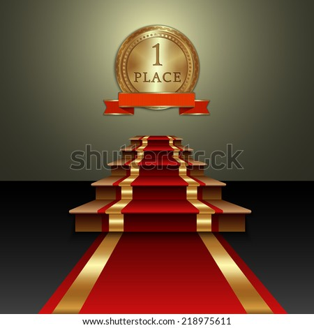 Vector abstract illustration of red carpet on staircase gold medal with ribbon - stock vector