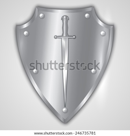 Vector abstract illustration of stainless steel shield with rivets and engraved sword - stock vector