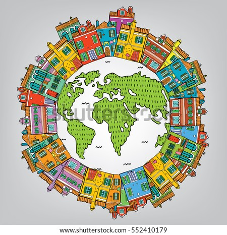Vector Abstract illustration of the Earth Globe with Houses. Nice and Comfortable Neighborhood.