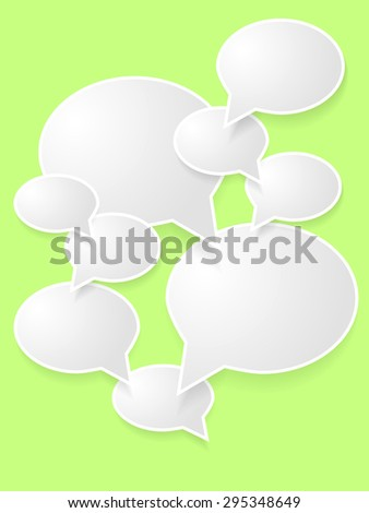 Vector abstract illustration of white paper round speech bubbles on green background - stock vector