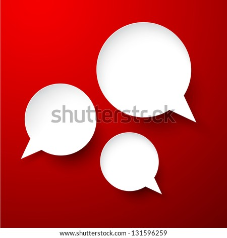Vector abstract illustration of white paper speech bubbles on red background. Eps10. - stock vector