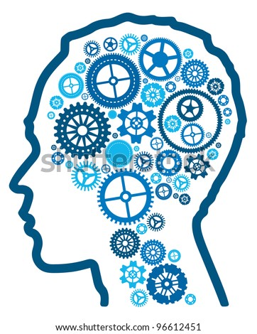 Vector abstract illustration representing cognitive intelligence and the human brain. - stock vector