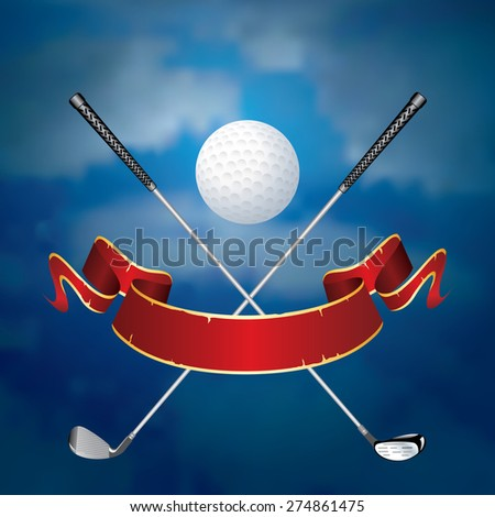 vector abstract illustration with golf ball like moon and blank banner - stock vector