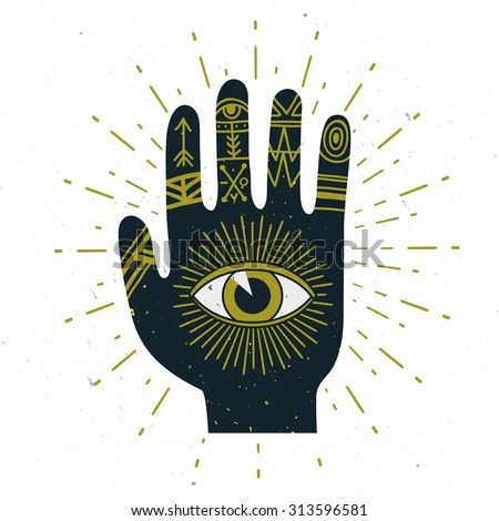 Vector abstract illustration with sunburst, hand, ornaments and all seeing eye symbol. Stylish vintage background. Grunge effect is on a separate layer. - stock vector