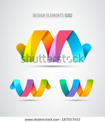 Vector abstract infinity logo. Creative concept icons set - stock vector