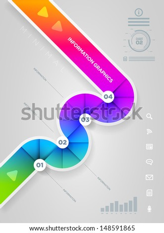 Vector abstract infographic design template. lights, shadows, color shapes etc. layered separately in vector file. - stock vector